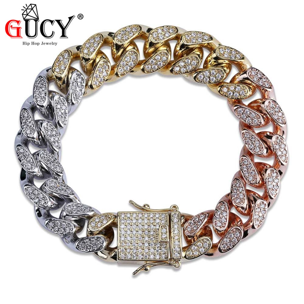 GUCY Hip Hop Cuban Chain Bracelet Micro Pave CZ Stones Three Colors Tricolor Bling Iced Out