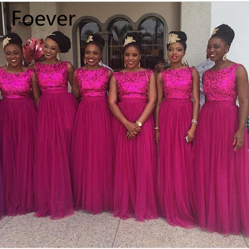 Mode 2019 pas cher mode a-ligne Appliques dentelle longueur de plancher en mousseline de soie rose chaud longue robe de demoiselle d'honneur pour les femmes