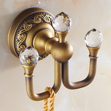 Antique Brushed Clothes Hook Luxury Bronze Crystal&Copper Bathroom Coat Hanger robe hooks Row Hook Bathroom Accessories D9