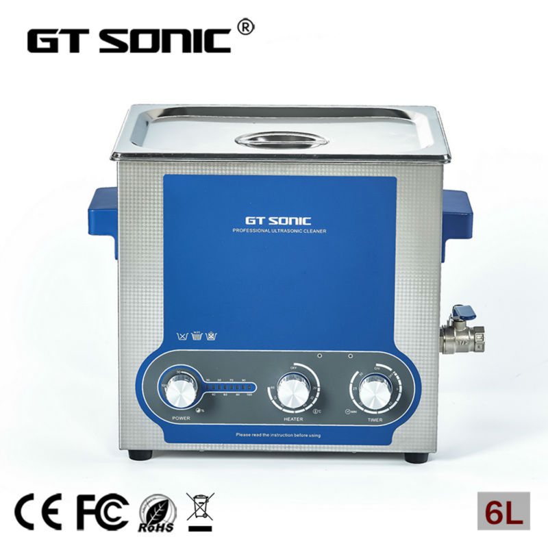 6L ultrasonic cleaners for print head, jewelry, fuel injector, nozzle carburetor ultrasonic washing machine GT SONIC-P6