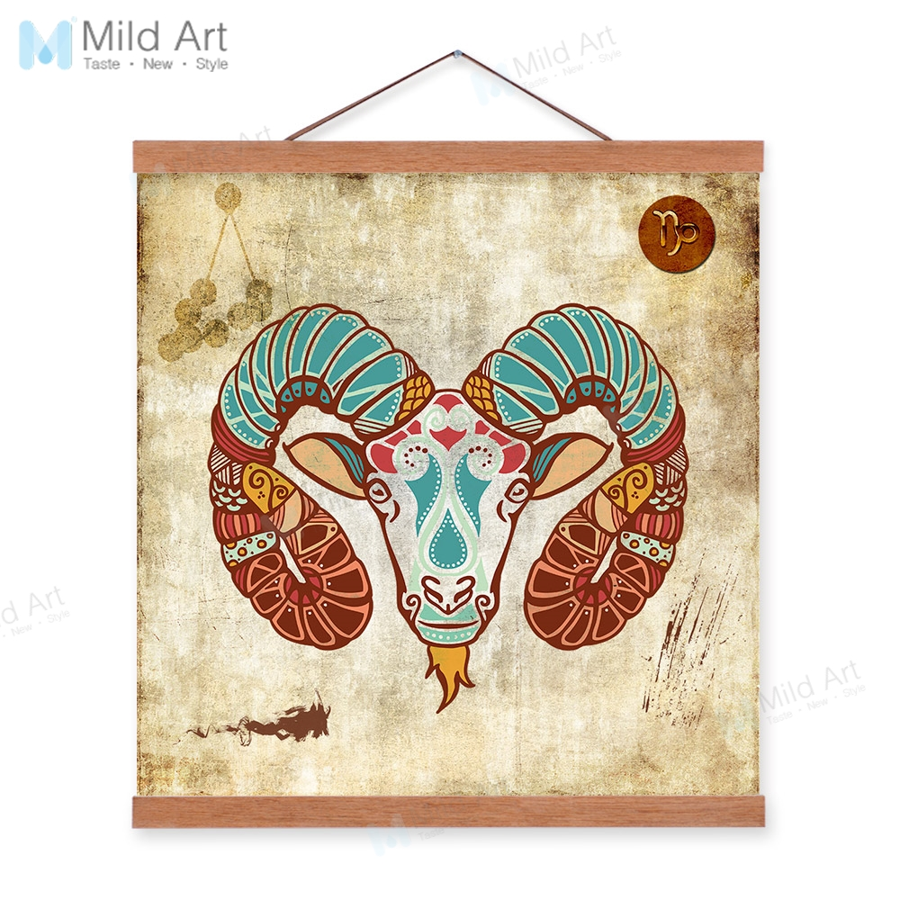 Vintage Retro Zodiac Aries Wooden Framed Hanger Posters Restaurant Office  Wall Art Picture Home Bar Decor Canvas Painting Scroll
