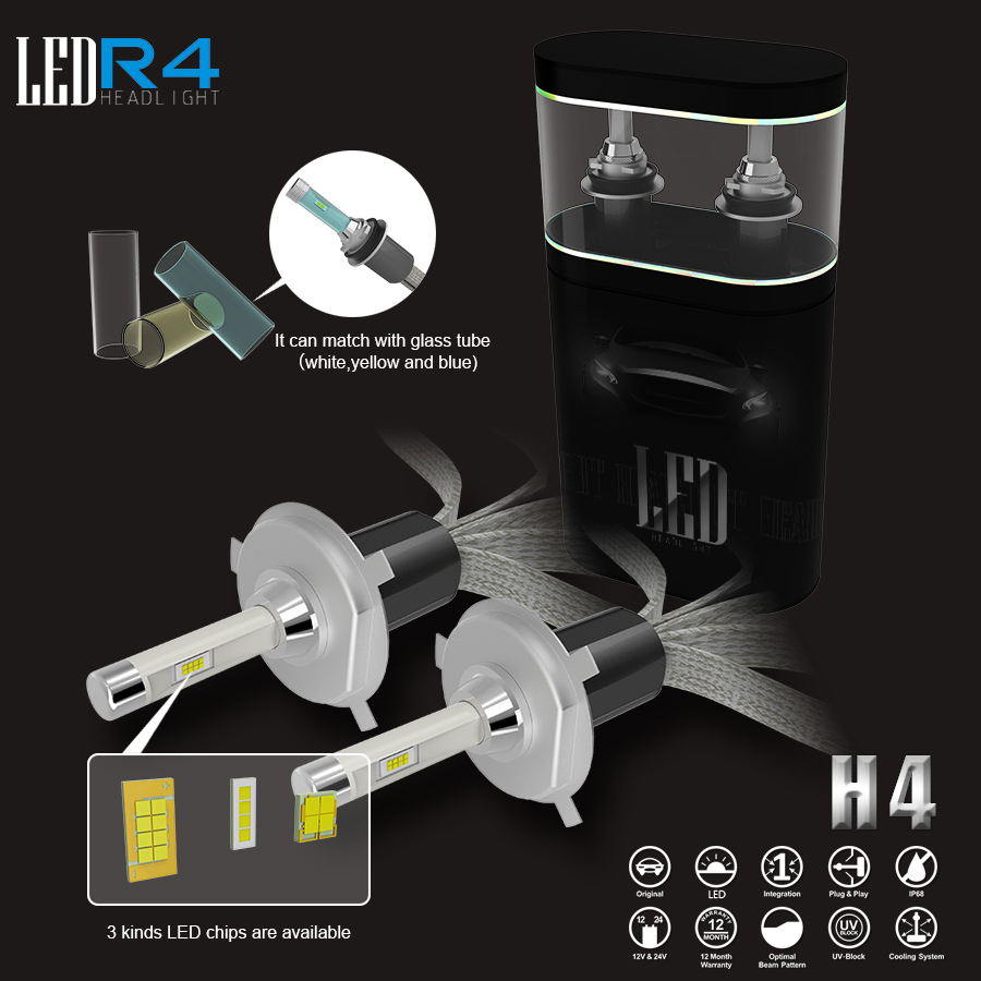 цена на H4 Car Led Headlight High Power Auto H4-3 Hi/lo HB2 9003 High Low 40W X2 White 6000K Bulb Repalcement Hi low Headlamp
