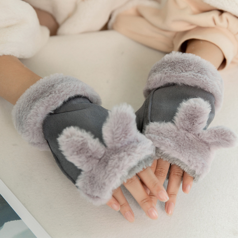 Famale Winter Plus Plush Thick Warm Cartoon Rabbit Half Finger Flip Mittens Fashion Suede Leather Fur Women Warmer Gloves B32