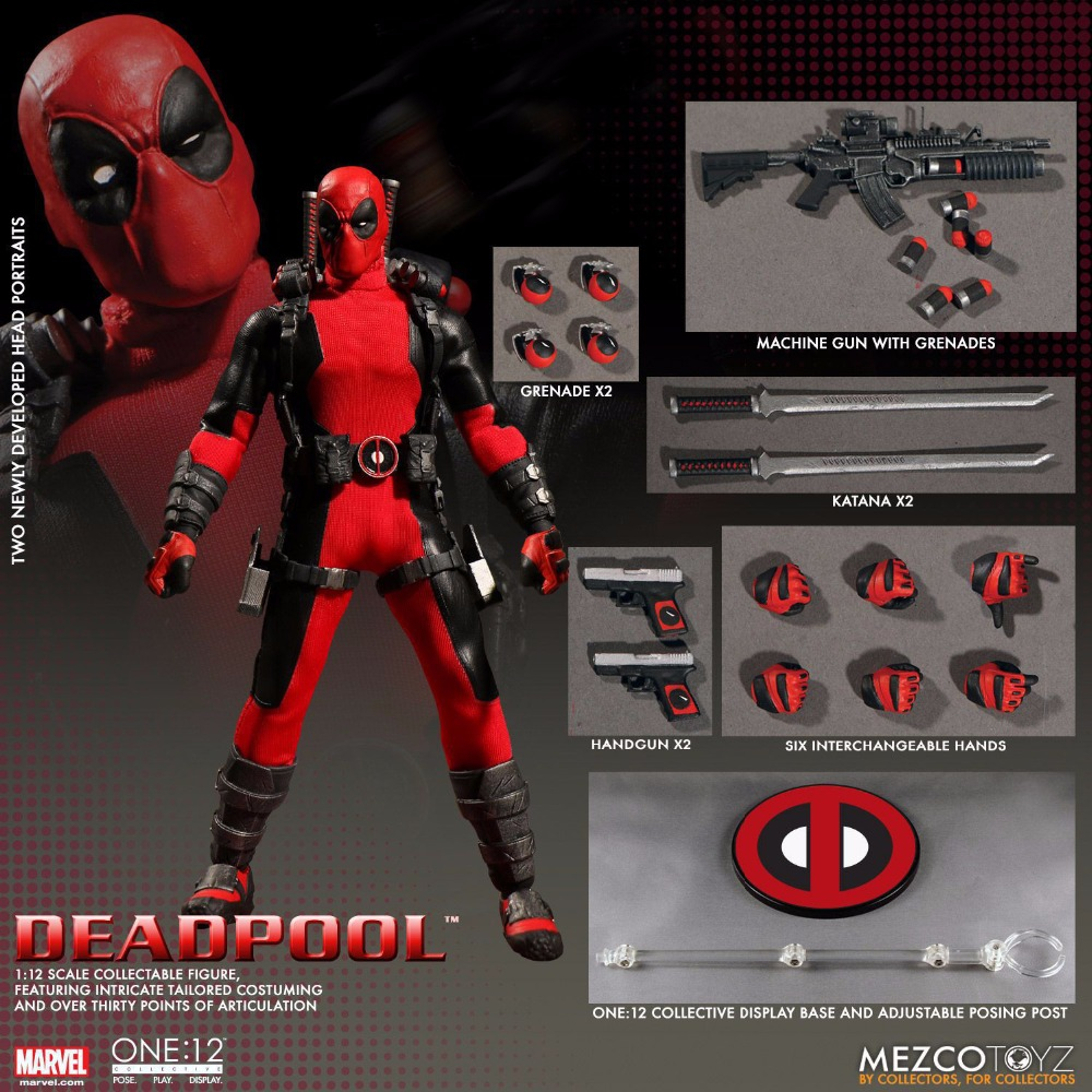 Mezco Marvel Deadpool X-Men Super Hero One:12 Collective BJD Figure Toys 16cm