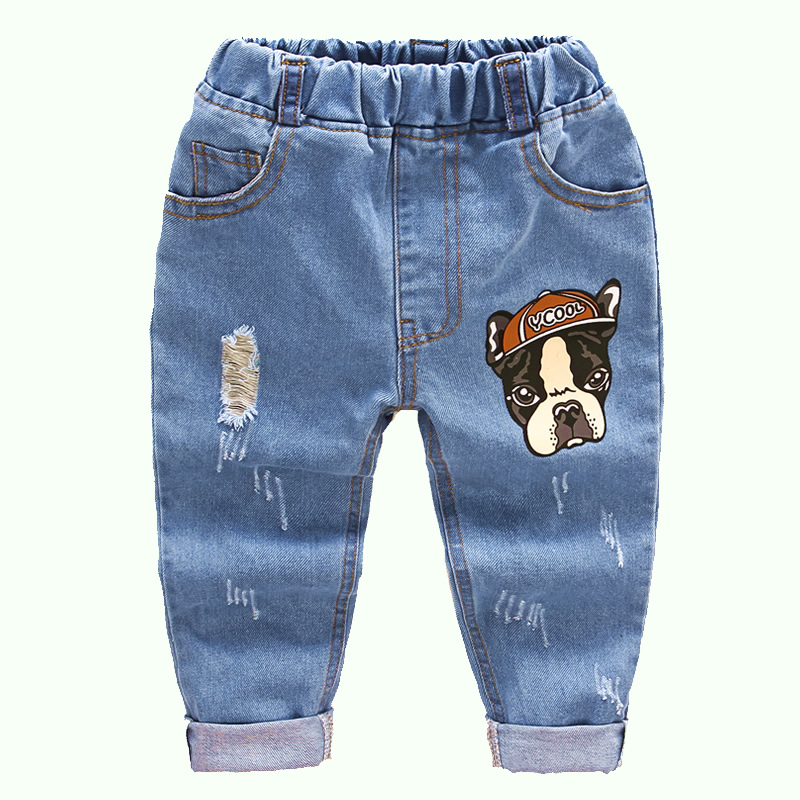 2018 new fashion autumn boys cartoon dog bottoms baby Casual jeans pants child pants children trousers kids long cowboy pants boys jeans kids trousers fashion children girls denim pants spring autumn baby casual soft long pants elastic jeans color gray