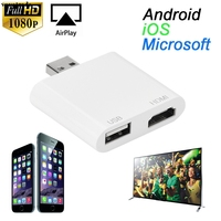 USB To HDMI HDTV HD Mirroring Adaptor Cable Converter Cord For IPhone 7 7 Plus