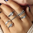 docona Bohemian Crown Star Carved Knuckle Rings Set for Women White Crystal Midi Finger Ring Statement Jewelry 6pcs/1set 4188