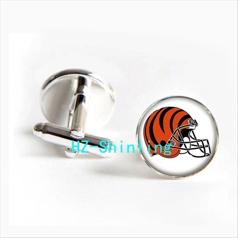 2017 wholesale Cincinnati Bengals Team Helmet Cufflinks American Football Helmet Cuff Round Cufflinks Silver