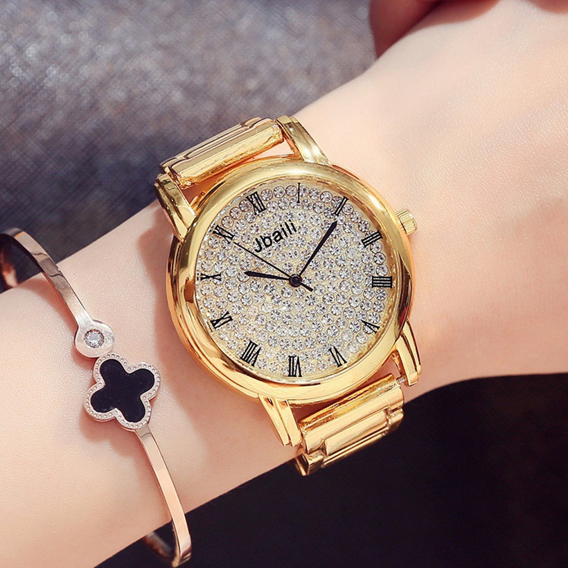 Luxury Quartz Bracelet Watch Women Steel Watches Gold Luminous Wristwatch Rhinestone Ladies Watch Clock Hodinky Relogio Feminino ladies women watches 2017 fashion women rhinestone bracelet watches analog quartz wristwatch ladies clock relogio feminino
