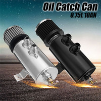 Universal Aluminum 0 75L Oil Catch Tank Can Brushed Baffled With Breather Filter 10 AN Round