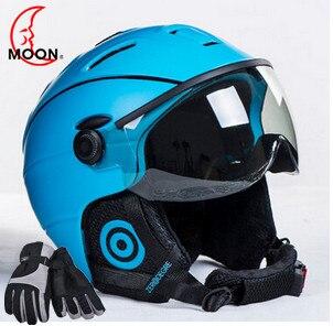 MOON Goggles Skiing Helmet Integrally-molded PC+EPS CE Certificate Ski Helmet Outdoor Sports Ski Snowboard Skateboard