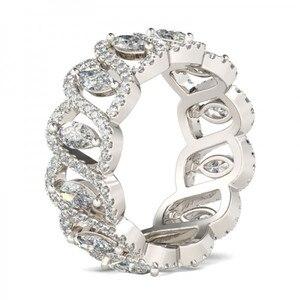 Image 2 - Vecalon Sexy obietnica kwiatowy pierścień 925 srebro 5A cyrkon Cz obrączka obrączki dla kobiet mężczyzn biżuteria najlepszy prezent