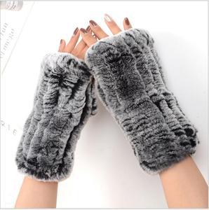 Image 2 - Frauen 100% Echt Echte Gestrickte Rex Kaninchen Pelz Winter Fingerlose warme weiche Handschuhe Fäustlinge Arm Hülse