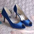 Wedopus Personalizado Handmade Mulheres Dedos Abertos Bombas de Salto Médio Sapatos De Noiva de Cetim Azul