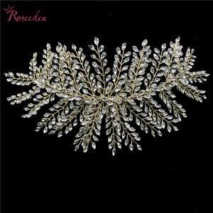 Image 5 - Женские свадебные обручи для волос, серебристые обручи для волос с кристаллами, аксессуары для волос, RE3283