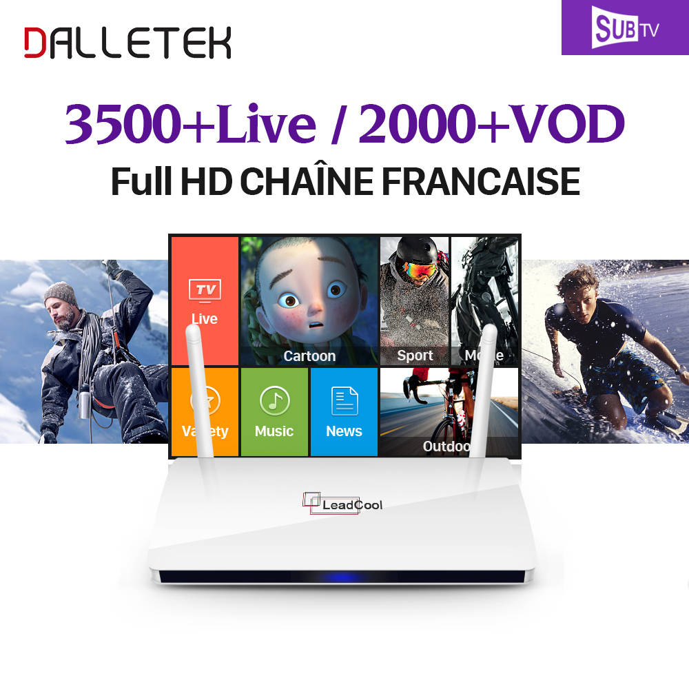 Dalletektv Leadcool TV Box Android 6.0 RK3229 1GB 8GB Smart Media Player 2.4GHz WiFi + Subtv IPTV Europe French Arabic IPTV Box gotit cs918 android 4 4 tv box with 1year arabic royal iptv europe africa latino american iptv rk3128 media player smart tv box