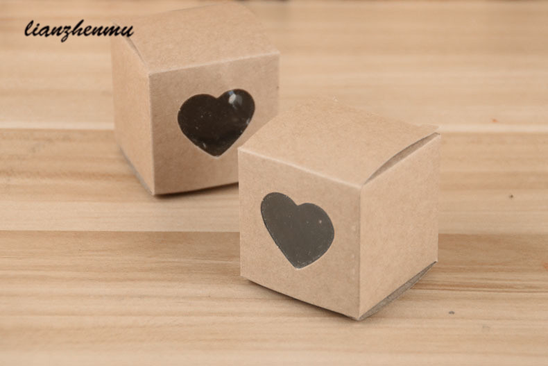 100pcs per lot Kraft white/black Heart Shaped Window cupcake boxes Wedding Chocolate Packing Party Single candy/cookies Boxes