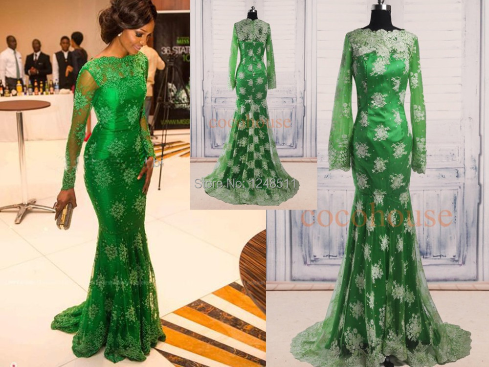 Aliexpress Buy 2014 New Style Red Carpet Miss Nigeria Mermaid Long Sleeves Green Lace