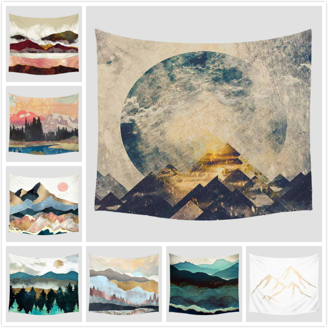 Mountain Scenic Printed Pattern Tapestry Wall Hanging Decoration Furnishing Travel Picnic Beach Shawl Camping Bohemian Blanket