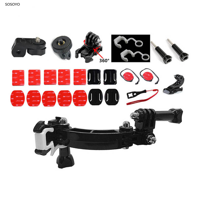 Motorcycle Helmet Riding Chin Fixed Bracket Mount Adapter Set For Hero 7 6 5 4 Xiaomi YI 4K SJCAM  Action Camera Accessories