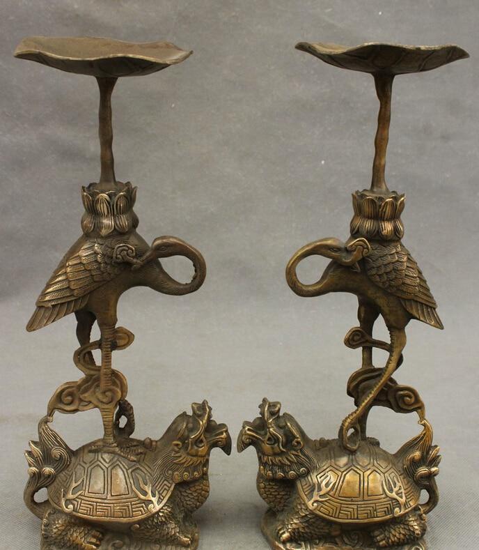 Antique Chinese bronze dragon tortoise candlestick brass candlesticks