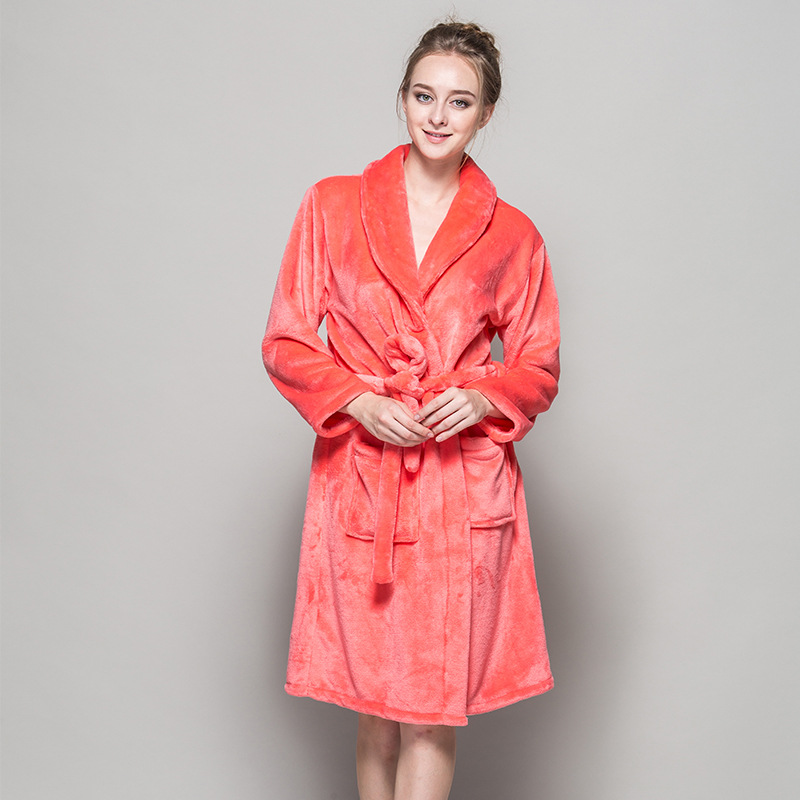 New Soft Quality Flannel Bath Robes Feminino Women Pink Red Bridesmaid Night Robes Winter Kimono Bathrobes For Weeding