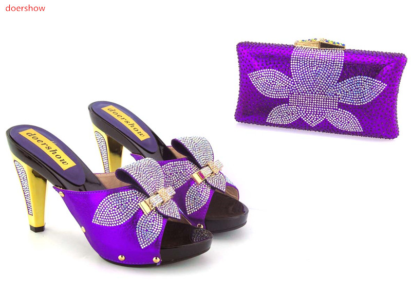 doershow Latest Purple Color Shoes and Bag Set Decorated with Rhinestone High Quality Matching Italian Shoe and Bag Set  GO1-11 doershow high quality italian shoe and bag to match women shoes african party shoes and bag set green with rhinestone kh1 3