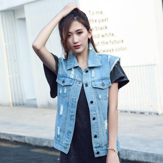 a492dc31b13 Roupas Femininas No Atacado Women Work Wear Jean Vest Fashion Sleeveless  Cardigans Short Vintage Summer Vest