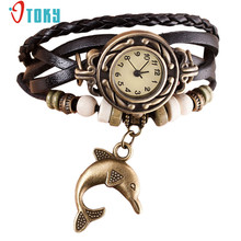 Fashion Design Women Watches Quartz Weave Around PU Leather Dolphin Bracelet Lady Women Wrist Watch Creative Mar14