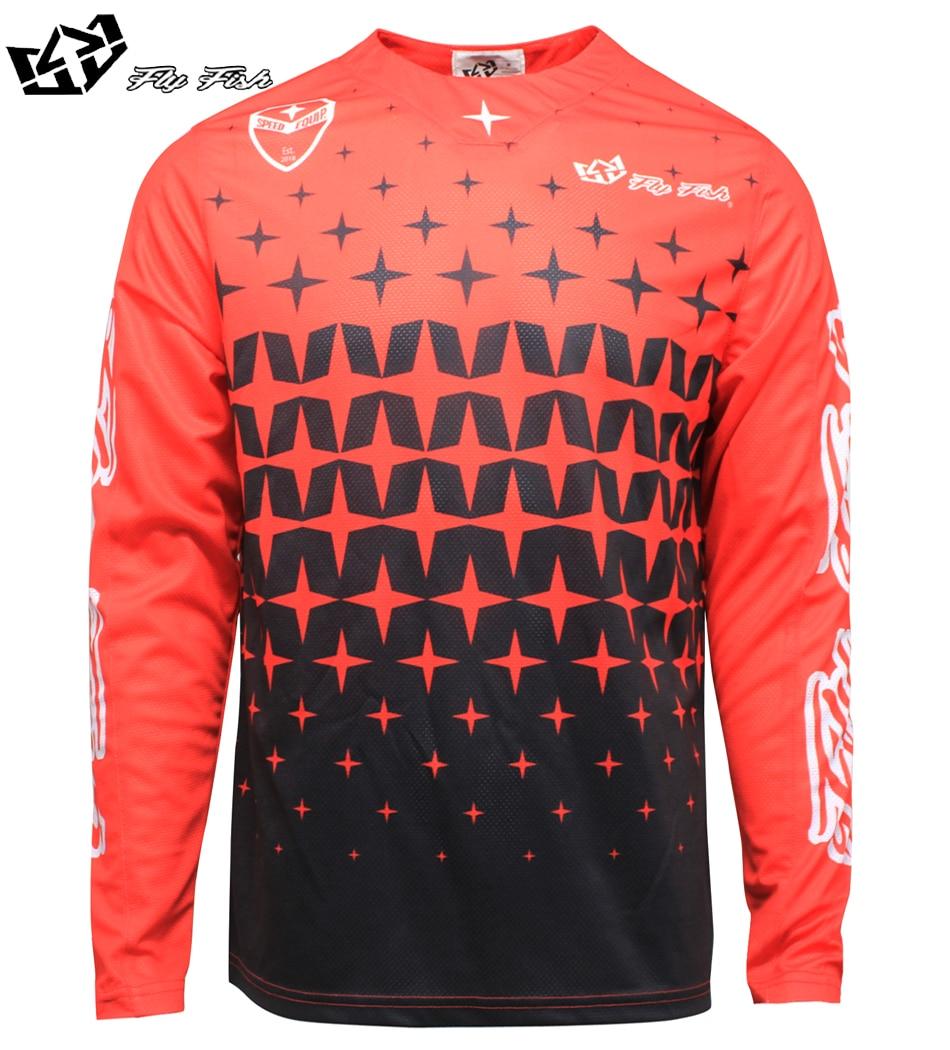 NEW 2018 FLY FISH Racing Mens SE Air Megaburst Jersey Red/Black MX ATV Moto Mountain Bike moto Jersey DH BMX motocross jersey