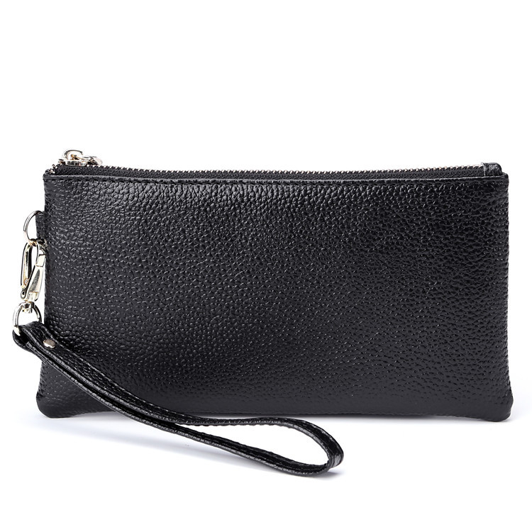 cow Leather Wallet Female Long Purse Smartphone Wristlet Wallet Organizer for Document High-Capacity Rfid Card Protector