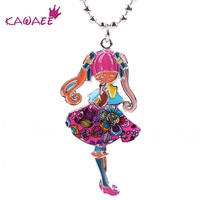 Kawaee Diy Figure Girl Shaped Necklaces & Pendants Christmas Gift Enamel Flower Printing Choker New Fashion Jewelry Women KA854