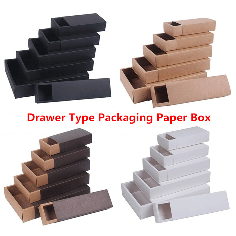 Kraft Paper Drawer Type Craft Gift Box White Black Jewelry Handmade Soap Packaging Boxes For Wedding Party Candy