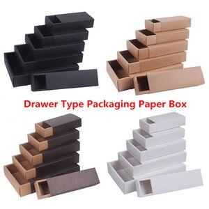 Image 1 - Scatole dimballaggio del sapone fatto a mano dei gioielli neri bianchi del contenitore di regalo del tipo del cassetto della carta Kraft per la caramella della festa nuziale
