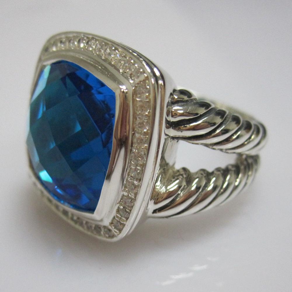 Solide 925 Bijoux en argent 14mm Bleu bague topaze Conception Marque Bijoux En Argent Sterling Améthyste Noir Onyx Citrine Femmes Bague