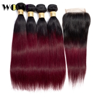Wome Ombre Bundles With Closure T1B/99J Peruvian Straight Human Hair 4 PCS With 4*4 Lace Closure Baby Hair Natural Line