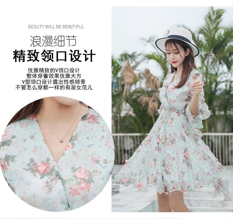 2019 robe d'été nouvelle dame robe douce robe florale mince femme mince fée taille en mousseline de soie robe d'été