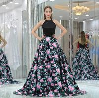 Floral Print Bridesmaid Dresses for Wedding Guest Party Halter Black Prom Dresses with Pocket 2018 Ball Gown vestido de noche
