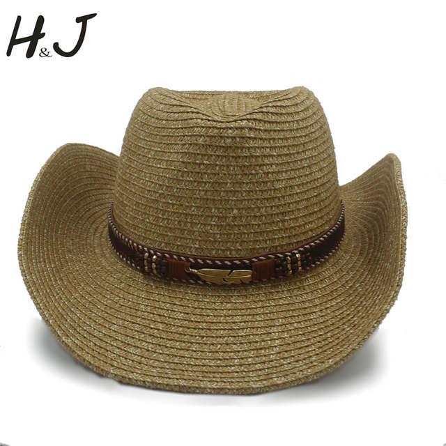 Musim panas Jerami Wanita Pria Berongga Topi Koboi Barat Dengan Fashion  Kulit 07adabf138