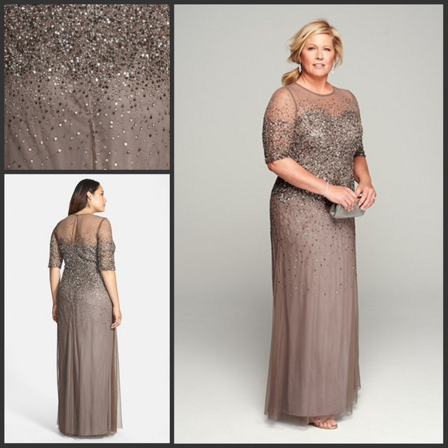 3ed96c03b7 Mãe da Noiva Vestidos com Heavy Baguetes Plus Size mulheres Do Partido  Evening Formal Vestidos Sheer