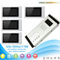 "4 Apartment Wired Video Door Phone Intercom System 7""Inch Monitor IR Camera Video Intercom DoorPhone Doorbell Kit"