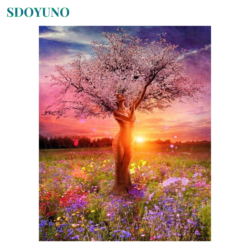 SDOYUNO Frame Women Trees DIY Painting By Numbers Landscape Coloring By Numbers Hand Painted Home Wall Art Decor 40x50cm Gift
