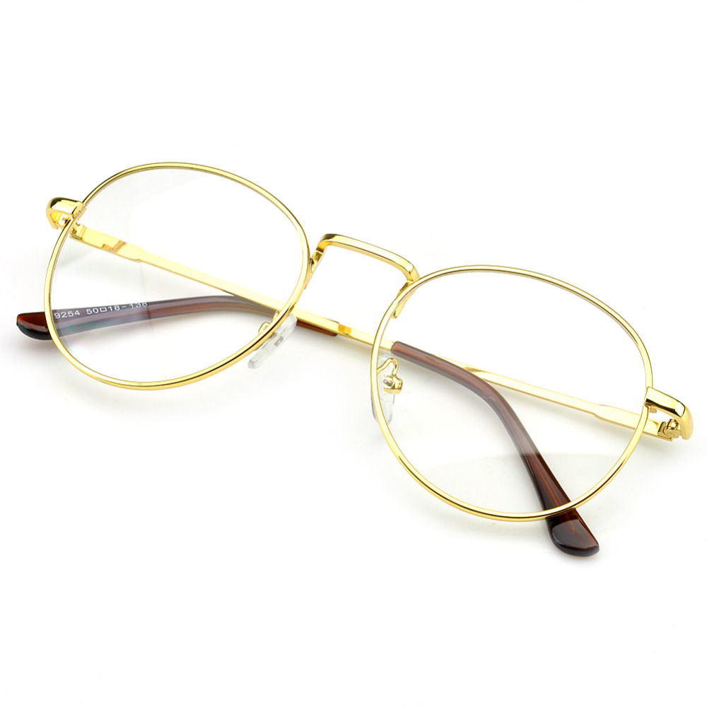 f9491c6924d PenSee Circle Oversized Metal Eyeglasses Frames Inspired Horned Rim Clear  Lens Glasses-in Eyewear Frames from Apparel Accessories on Aliexpress.com  ...