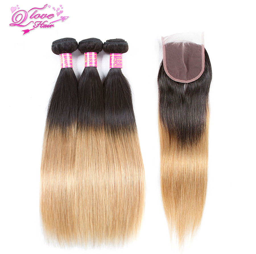 Queen Love Hair Malaysia Hair Ombre Straight Hair Bundles With Closure 1B/27 2 Tone Human Hair Non-Remy Exensione Hair