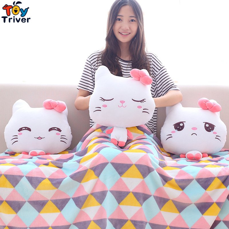 Plush Cat Portable Blanket Hand warm Stuffed Toy Doll Baby Shower Car Air Condition Travel Rug Office Nap Carpet Birthday Gift