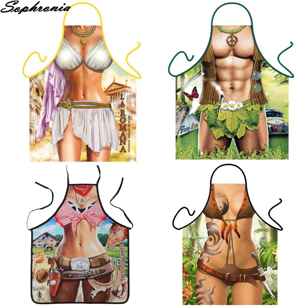 Funny <font><b>Kitchen</b></font> <font><b>Aprons</b></font> Sleeveless Men Women <font><b>Sexy</b></font> <font><b>Apron</b></font> For Women <font><b>Kitchen</b></font> Cartoon Pattern Cocina Tablier Cooking Baking CWQ024 image