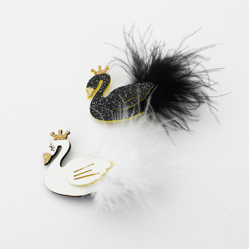 Brillo Blanco Cisne Negro Pinzas De Pelo Oro Corona Dibujos Animados