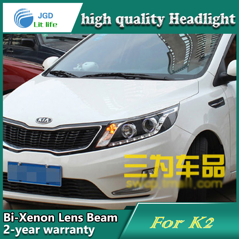 high quality Car Styling case for KIA K2 RIO 2011 2012 Headlights LED Headlight DRL Lens Double Beam HID Xenon Car Accessories headlight for kia k2 rio 2015 including angel eye demon eye drl turn light projector lens hid high low beam assembly