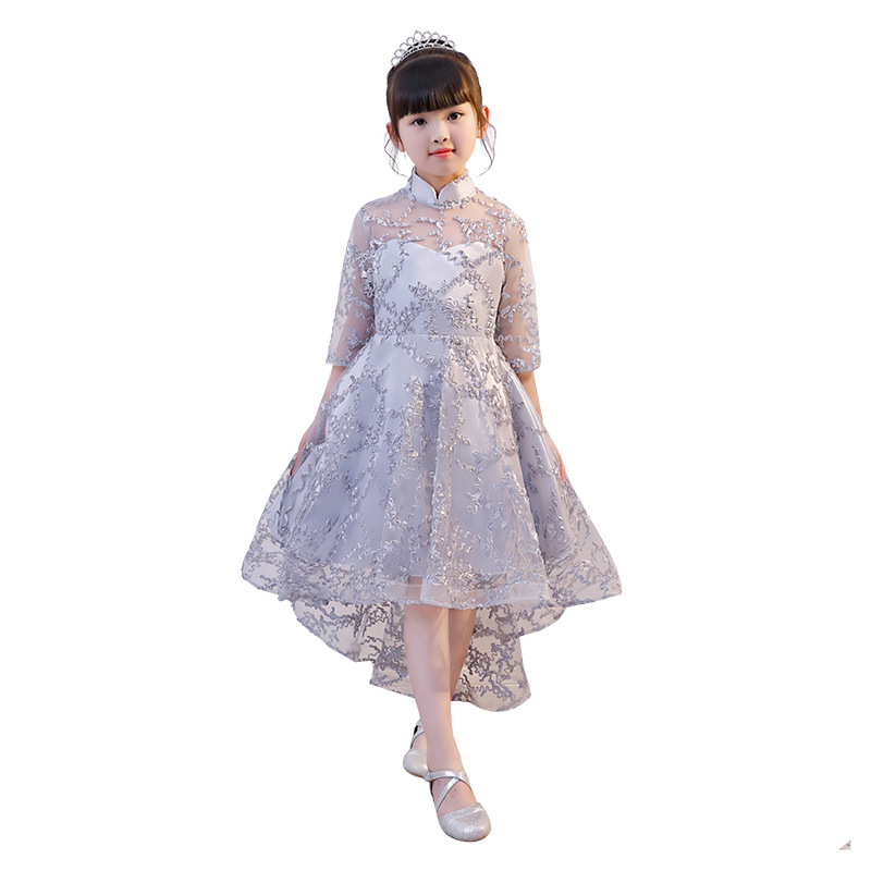 New Gray Lace Scoop Neck   Flower     Girls     Dress   for Wedding with Cape 3D   Girls   First Communion   Dress   Birthday Gown