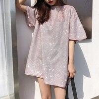 한국 얼짱 여성 O 목 짧은 소매 T 셔츠 새로운 패션 느슨한 밝은 실크 여름 T 셔츠 캐주얼 반짝 기본 여성 파티